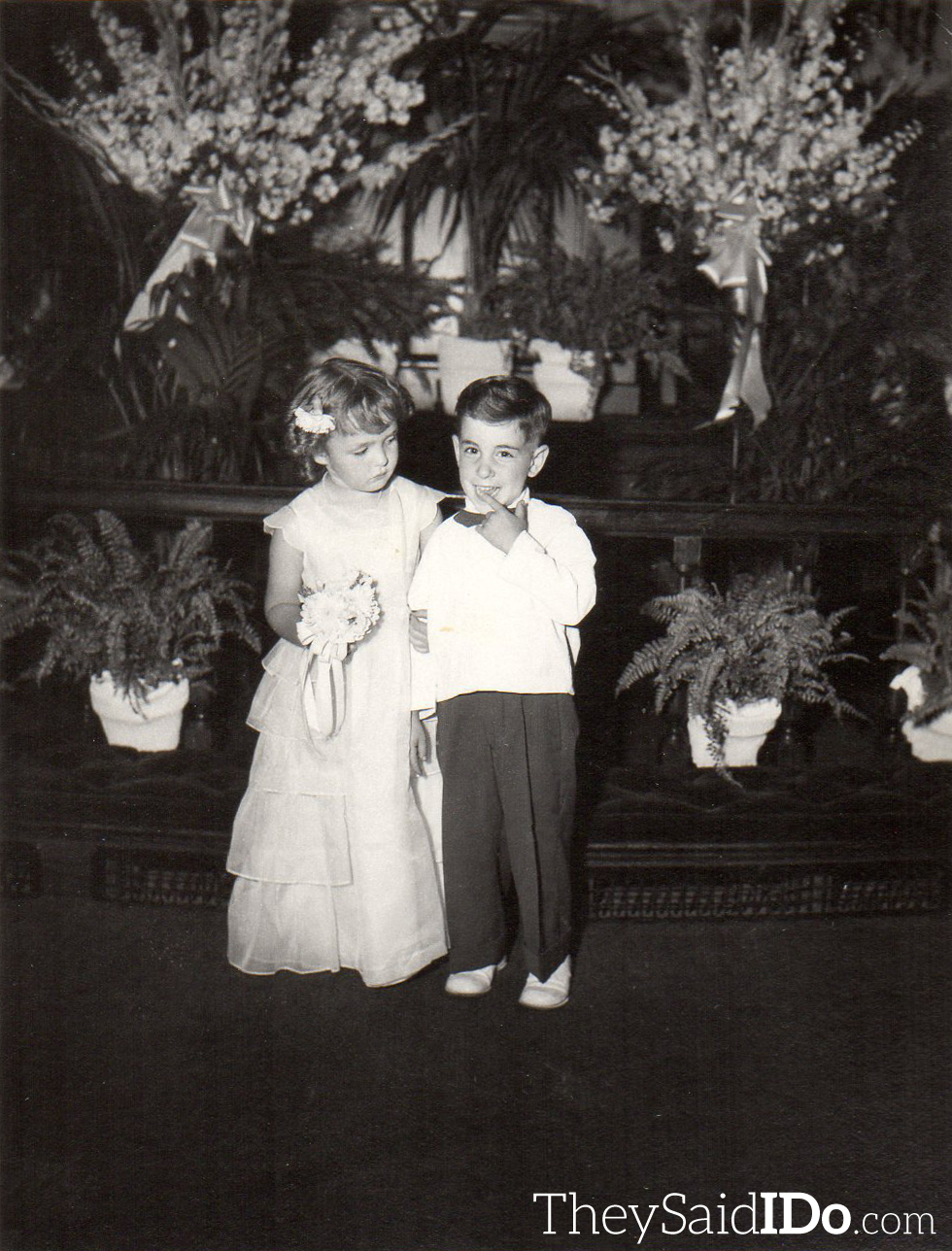 Flower Girl & Ring Bearer - Aren't they adorable?  Lansing, MI 1951 {TheySaidIDo.com}