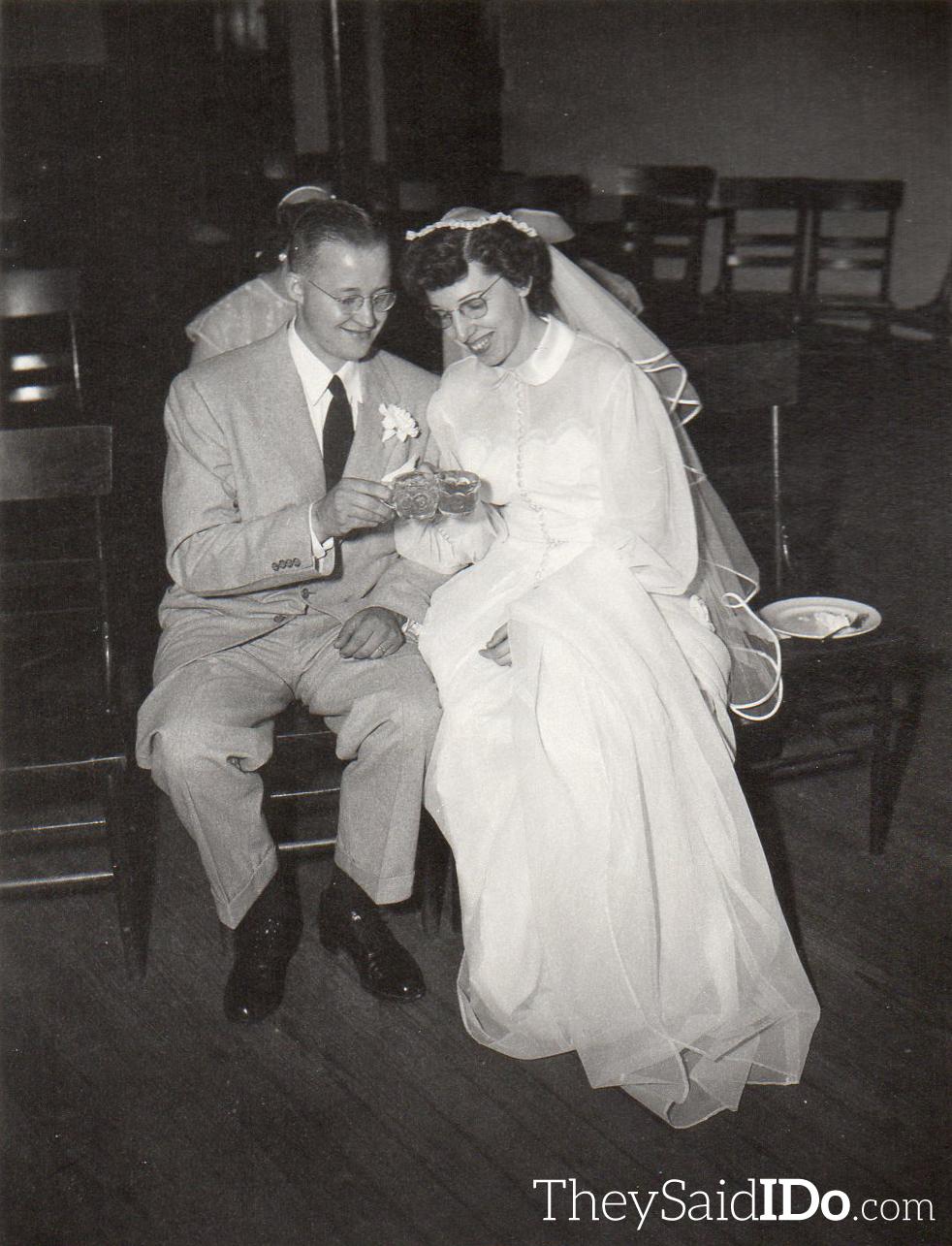 Inez and Byron share a toast.  Lansing, MI 1951 {TheySaidIDo.com}